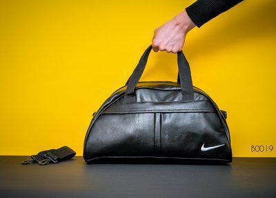 b1edb5d2 Сумка спортивная Nike Найк черная с белым значком из экокожи (реплика)