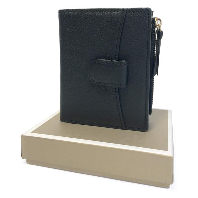 кошелек кожаный черный для девушки