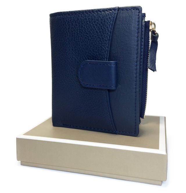 кошелек кожаный синий для девушки
