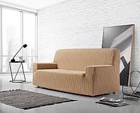 Чехол натяжной на 3х - 4х местный диван Андромеда Zebra Textile Бежевый