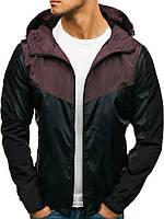 Куртка мужская весенняя с капюшоном ветровка черно-коричневая (демисезонная)