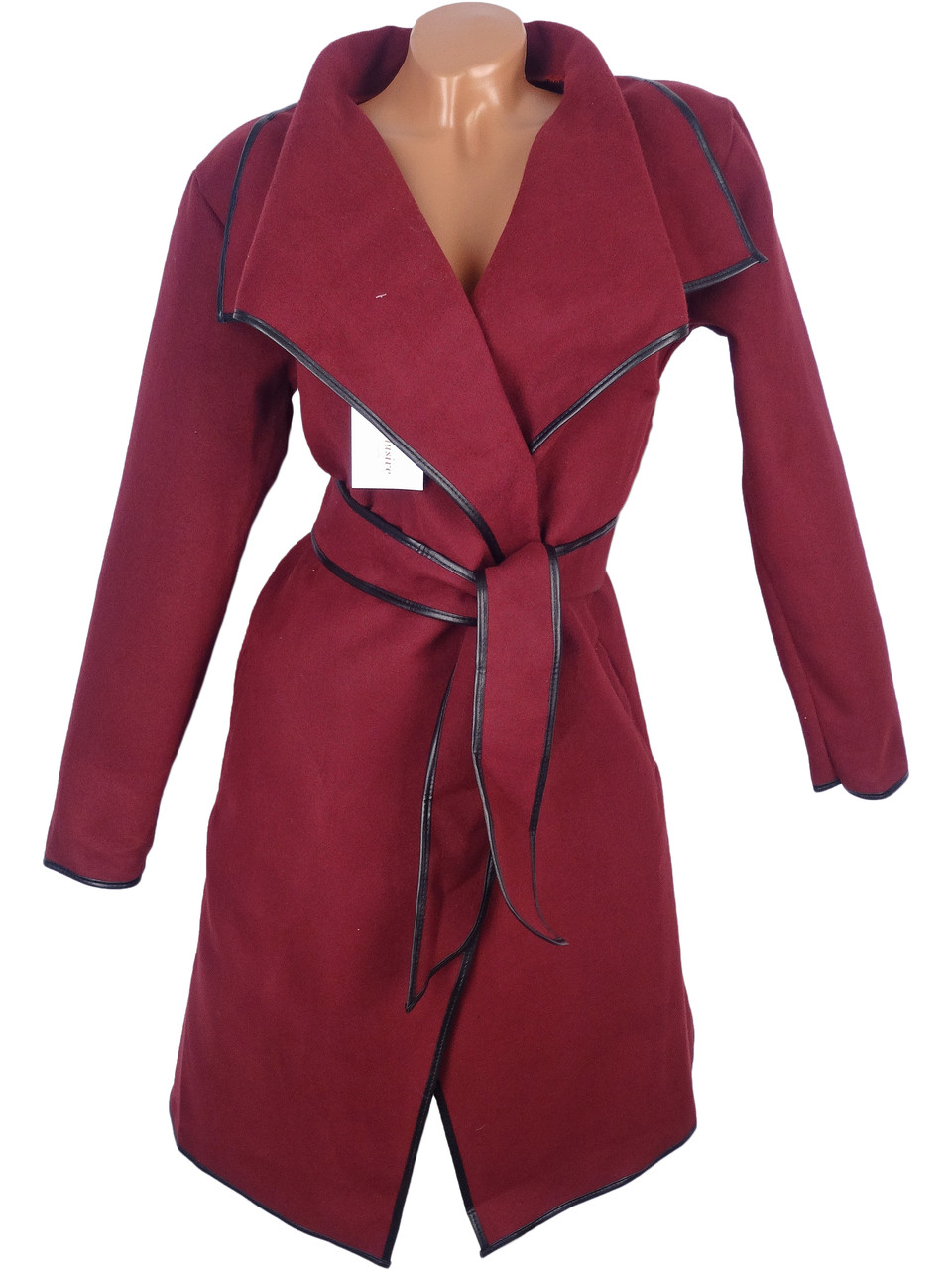 Укороченное пальто с поясом (бордо 48р)