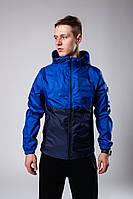 Куртка мужская весенняя с капюшоном ветровка синяя (демисезонная)