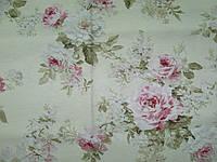 """Ткань для штор из хлопка в стиле """"Прованс"""" с розами 03151-01."""