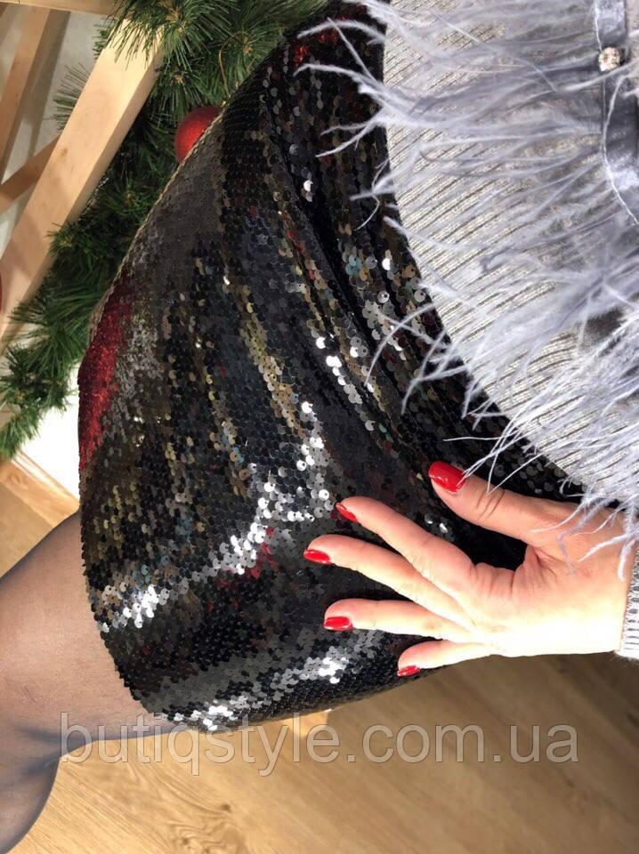 Стильная женская черная юбка пайетки
