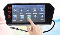 """Сенсорное Зеркало-накладка в Авто с монитором 7"""" дюймовэкран+ USB + Bluetooth"""