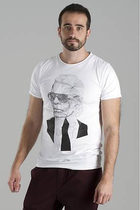 "Мужская белая футболка ""Who?"" с Карл Лагерфельд, фото 2"