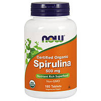Витамины NOW Spirulina 500 mg Organic (180 таб) нов спирулин органик