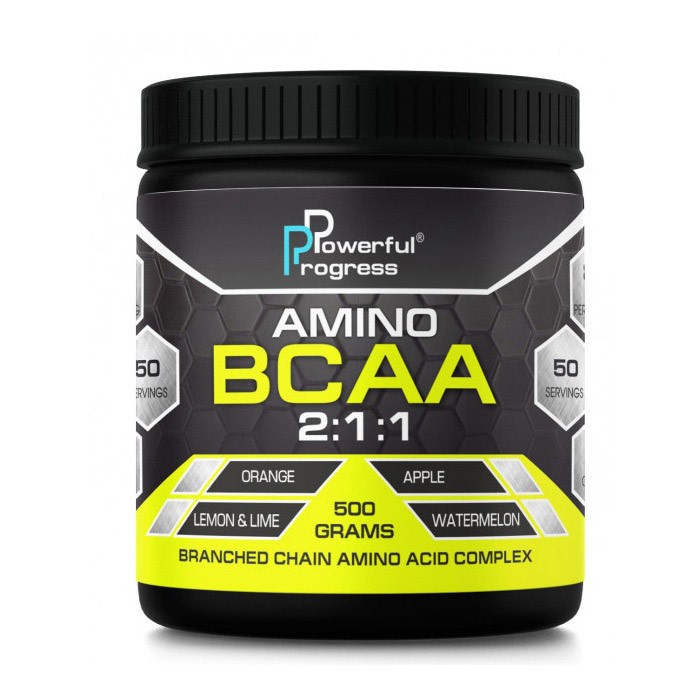 БЦАА Powerful Progress Amino BCAA 2:1:1 (500 г) поверфул прогресс lemon & lime