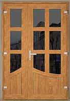 Входные двери ламинация золотой дуб, рефлекторное стекло