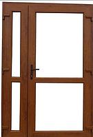 Пластиковые входные двери 2050х1400  Steko ламинация снаружи золотой дуб
