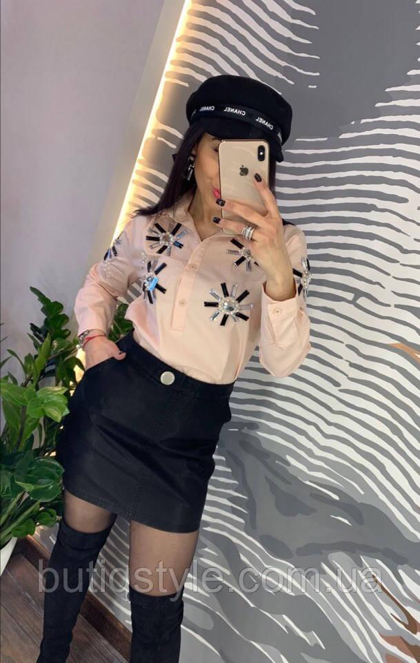Красивая женская черная юбка экокожа с карманами