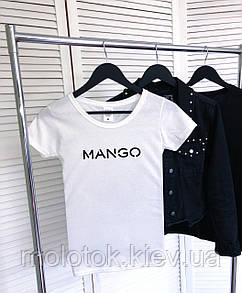 Женская футболка Mango белая качественная шелкография