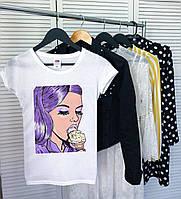 Женская футболка Lick ice cream белая качественная шелкография, фото 1