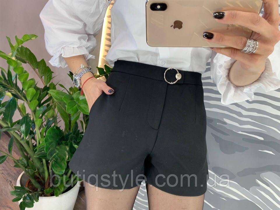 Черные женские шорты коттон с карманами