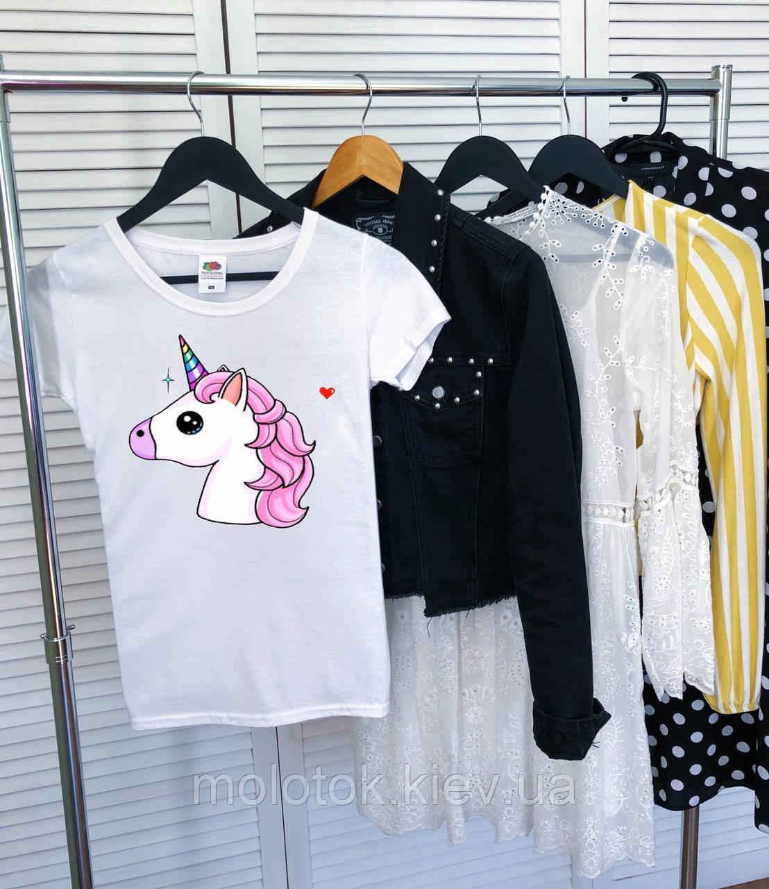 Женская футболка с единорогом белая качественная шелкография