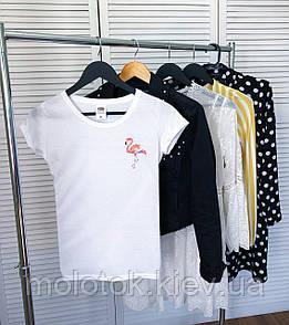 Женская футболка с фламинго белая качественная шелкография