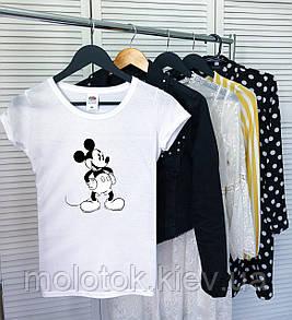 Женская футболка с Микки Маусом белая качественная шелкография