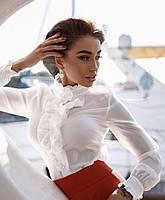 Блуза классическая с рюшами, длинный рукав