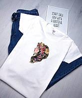 Женская футболка С цветами белая качественная шелкография, фото 1