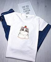 Женская футболка с котом белая качественная шелкография