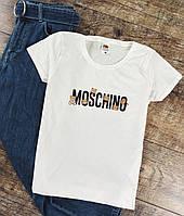Женская футболка Moschino белая качественная шелкография, фото 1