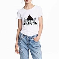 Женская футболка кот в треугольнике белая качественная шелкография, фото 1