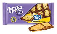 Шоколад Milka з солоним крекером Tuc 87 г