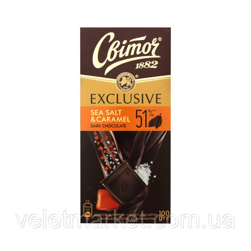 Шоколад Свиточ Эксклюзив черный с морской солью и карамелью 100 г