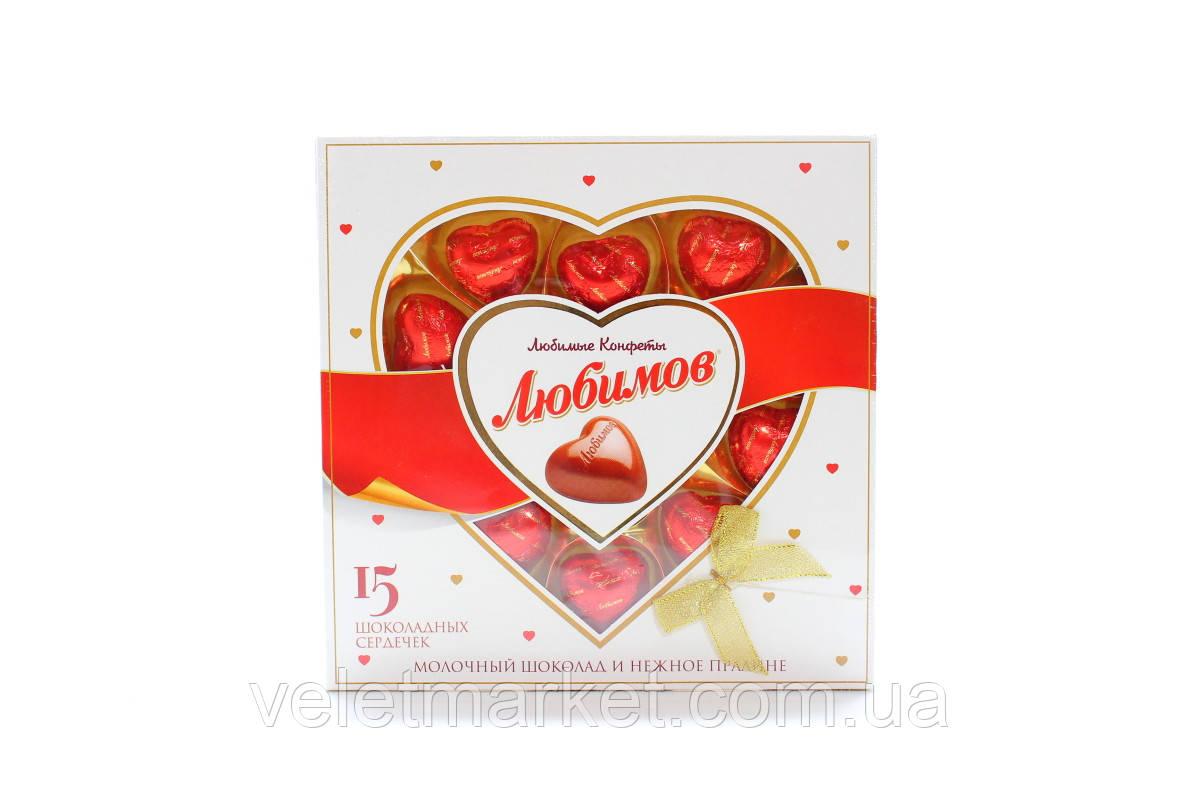 Конфеты в коробке Любимов 15 сердец молочные с ореховой начинкой 125 г