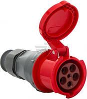 Розетка кабельная с крышкой и фиксатором с заземлением Bemis 63 A 380 В BEM 45-629 серый с красным BEM 45-630