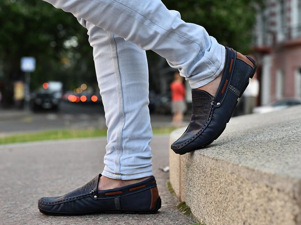 Качественные в стиле Levis синие мокасины!  Весна лето осень мужские туфли  кожа МОКАСИНЫ LEVIS (553)  BLU