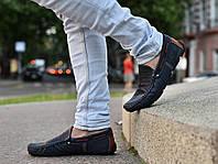 Качественные в стиле Levis синие мокасины!  Весна лето осень мужские туфли  кожа МОКАСИНЫ LEVIS (553)  BLU, фото 1