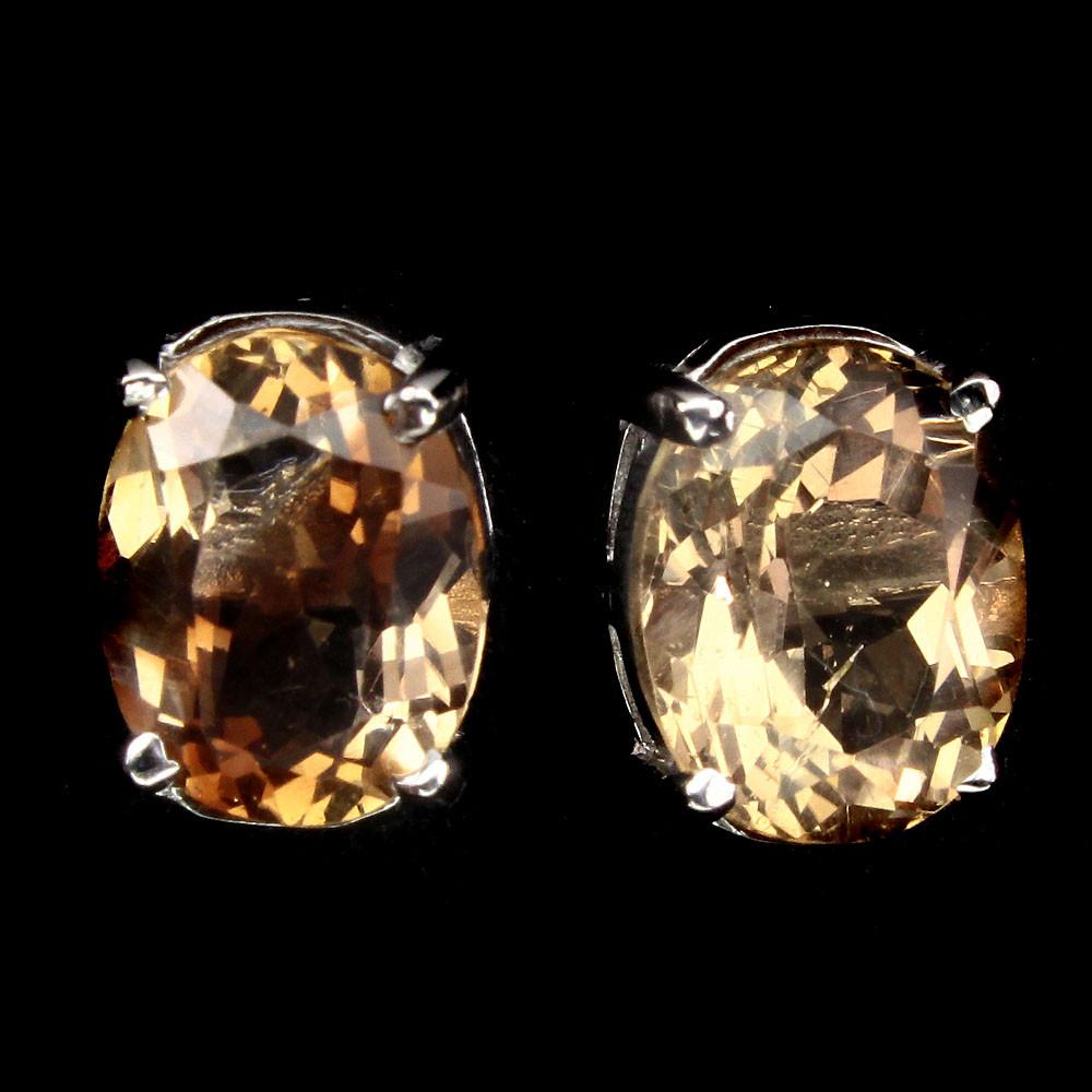 Серебряные серьги с империал топазами 0103