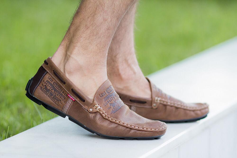 Стильные кожаные коричневые мужские мокасины в стиле Levis весна лето осень туфли МОКАСИНЫ LEVIS (555)  BROWN