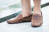 Стильные кожаные коричневые мужские мокасины в стиле Levis весна лето осень туфли МОКАСИНЫ LEVIS (555)  BROWN, фото 2