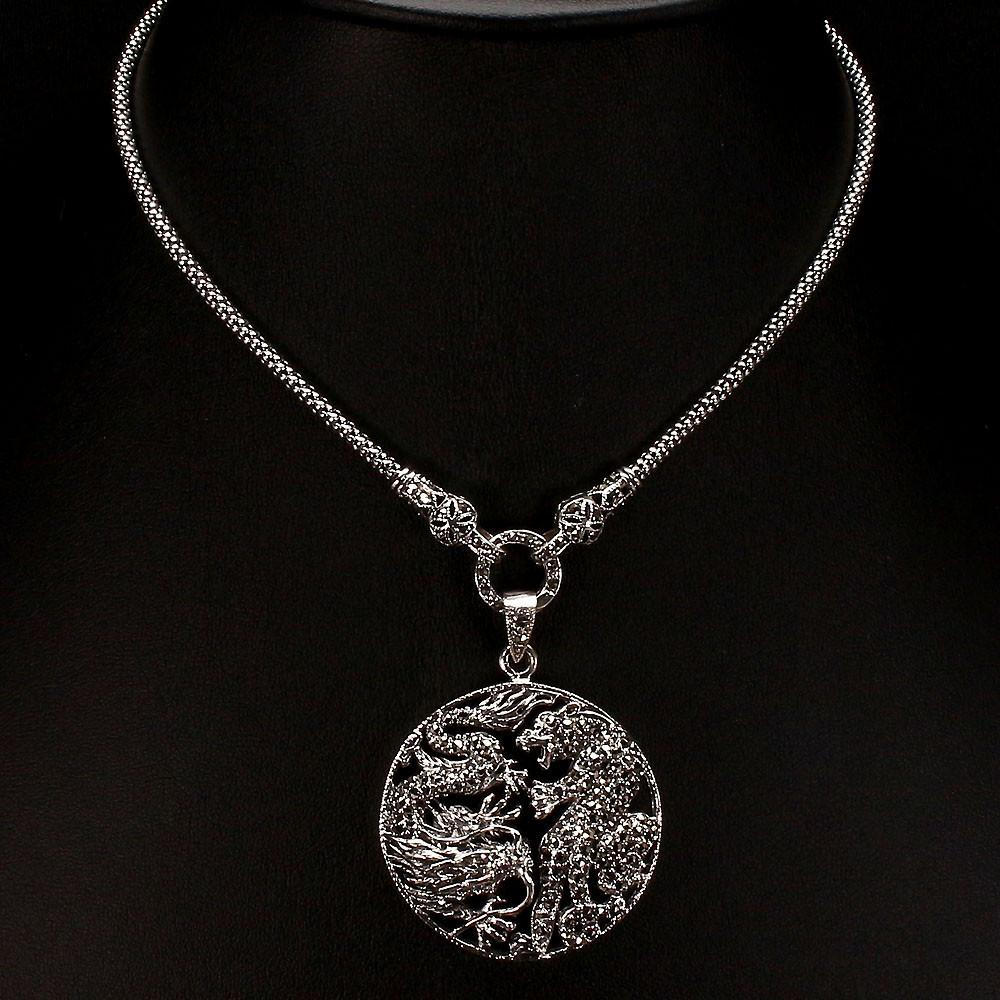Серебряное колье с марказитами 0108