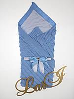 """Летний вязаный плед-покрывало """"Лапушка"""", голубой, фото 1"""
