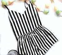 Пижама  женская хлопковая черно-белая полоска (майка + шорты)