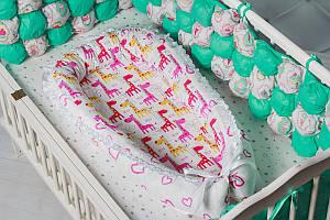 """Кокон-гнездышко для новорожденного """"Жирафик"""""""