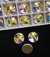 Стрази пришивні Копія Сваровскі, Ріволі (коло) d 16 мм Crystal AB, скло