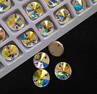 Стразы пришивные Копия Сваровски, Риволи (круг) d10 мм Crystal AB, стекло, фото 1