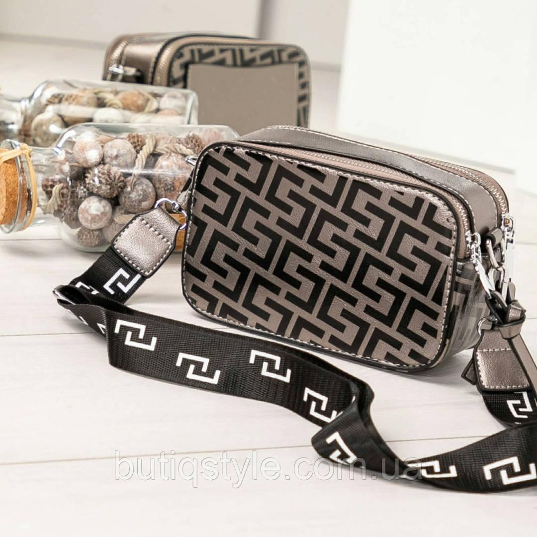 """Женская сумочка-клатч """"Геометрия"""" с широким плечевым ремнем,эко-кожа"""