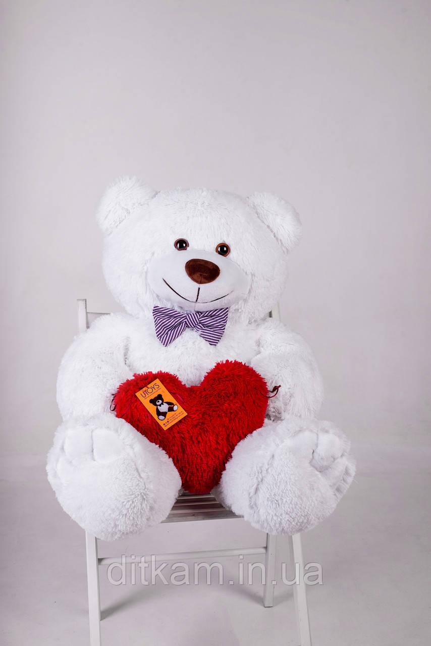 Мягкая игрушка Медведь Джон с сердцем (110см)Белый