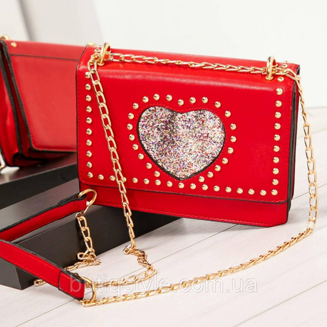 """Сумочка-клатч червона """"My heart"""" з ручкою-ланцюжком, еко-шкіра"""
