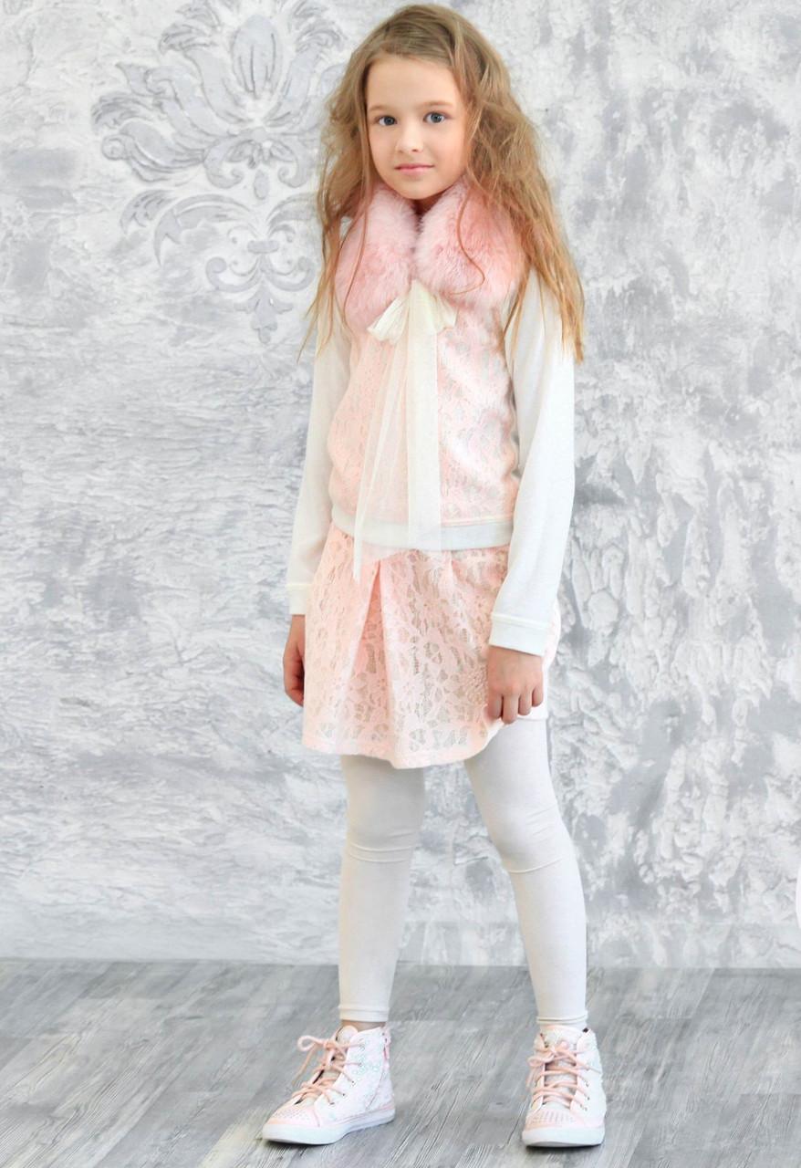 Гипюровая юбочка ( розовая) ТМ МОНЕ р-р 122
