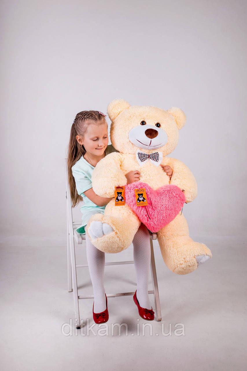 Мягкая игрушка Медведь Джон с сердцем (110см)Персиковый
