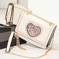 """Женская сумка светлый беж """"My heart"""" с ручкой-цепочкой, эко-кожа"""