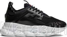 Мужские кроссовки Versace Chain Reaction Black (Версаче) в стиле черные