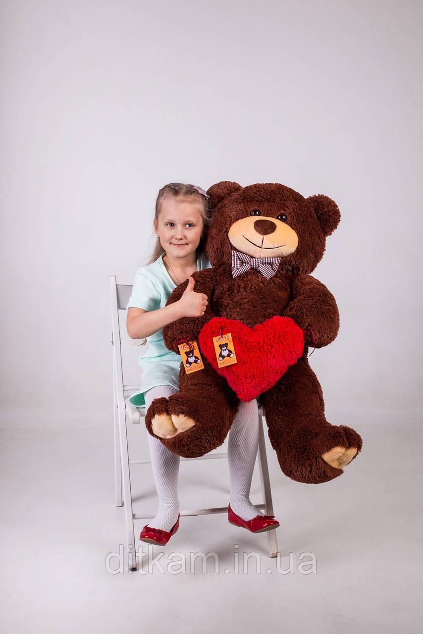 Мягкая игрушка Медведь Джон с сердцем (110см)Шоколадный